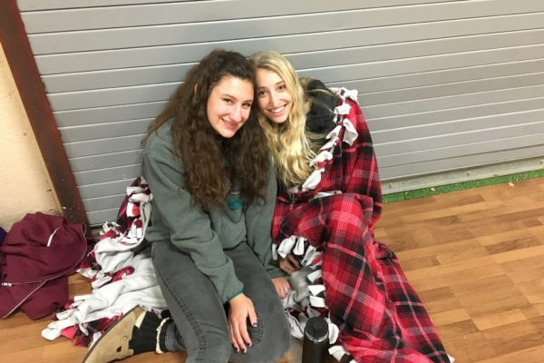 Stef and Chloe, getting comfy before the show at Fall Kallah!